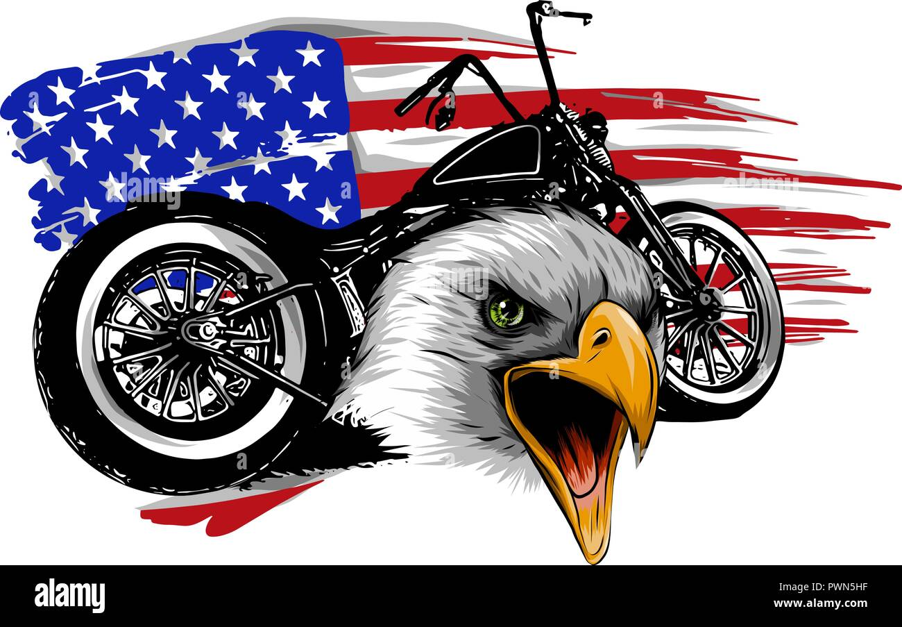 vector illustraton a motorcycle with the head eagle and american flag - Stock Image