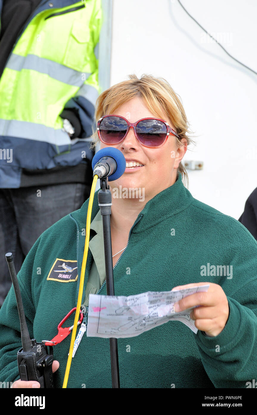 Debs Dunlop, ( Debs Leggett ) flying display director fdd and commentator commentating at an airshow. Deborah Dunlop accredited FDD with CAA - Stock Image