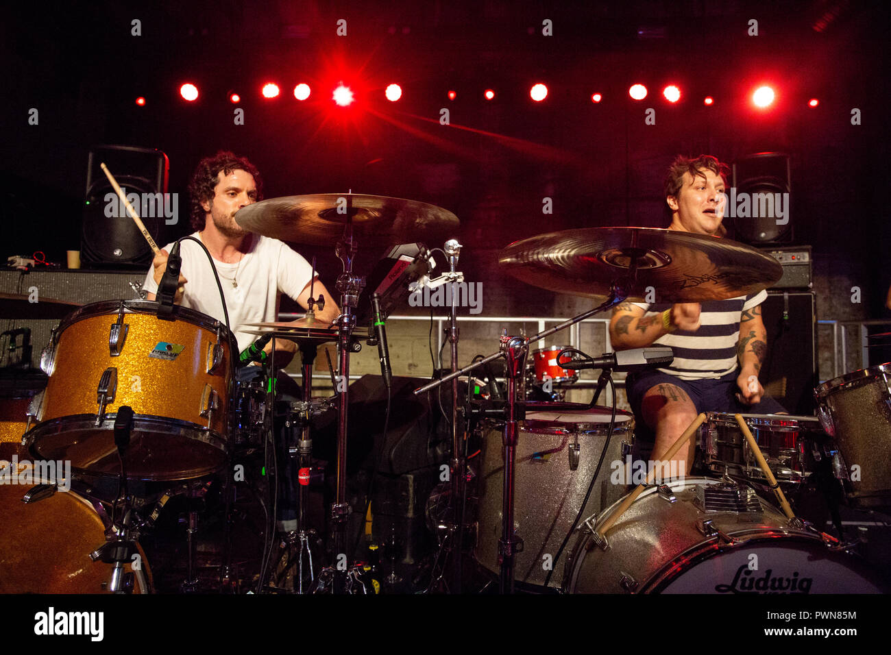 Oh Sees (Thee Oh Sees) dual drummers - 12th July 2018 - Boiler Shop Newcastle - Live concert performance - Stock Image