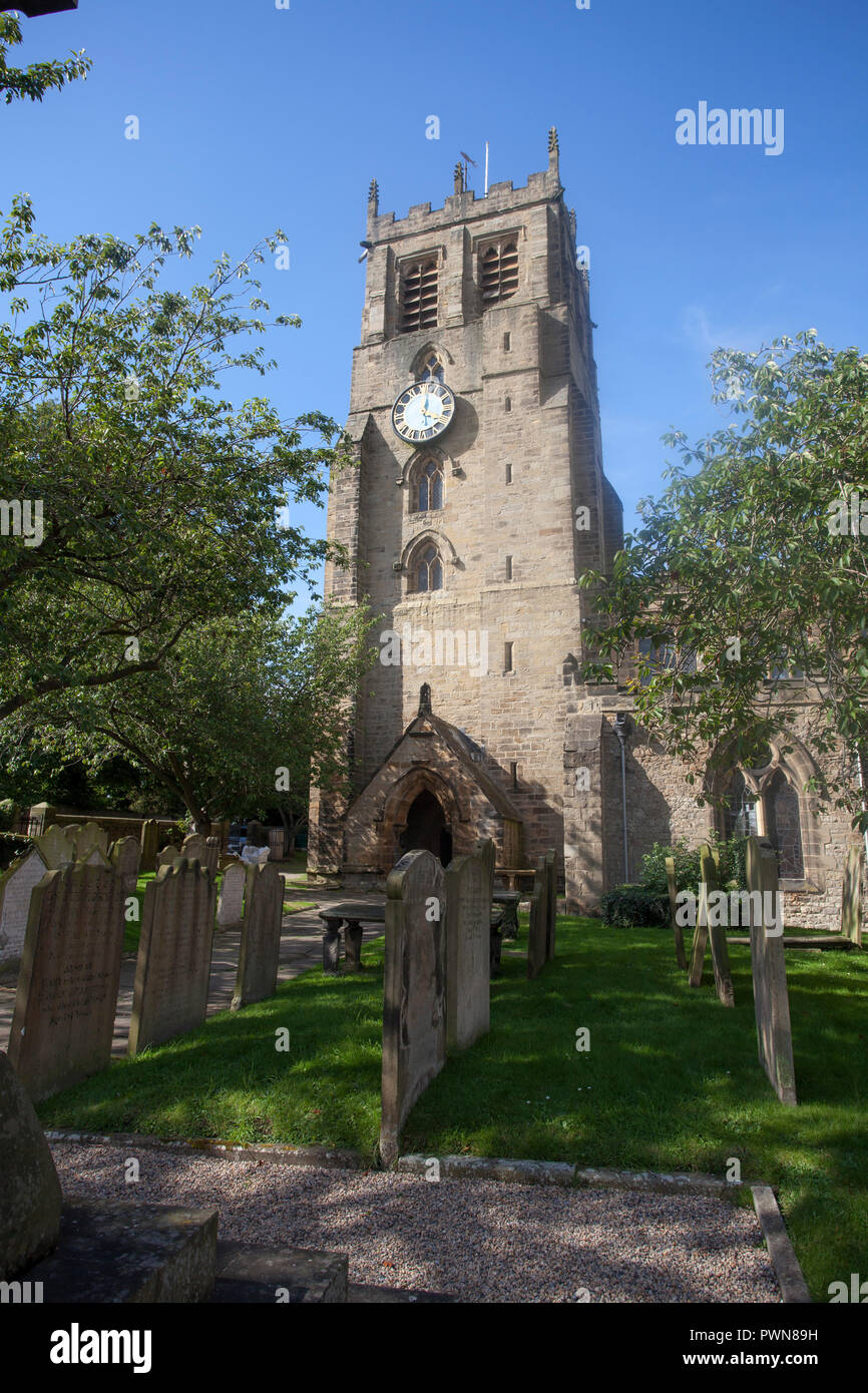 The meieval stone tower of St Gregory's church in Bedale, North Yorkshire - Stock Image