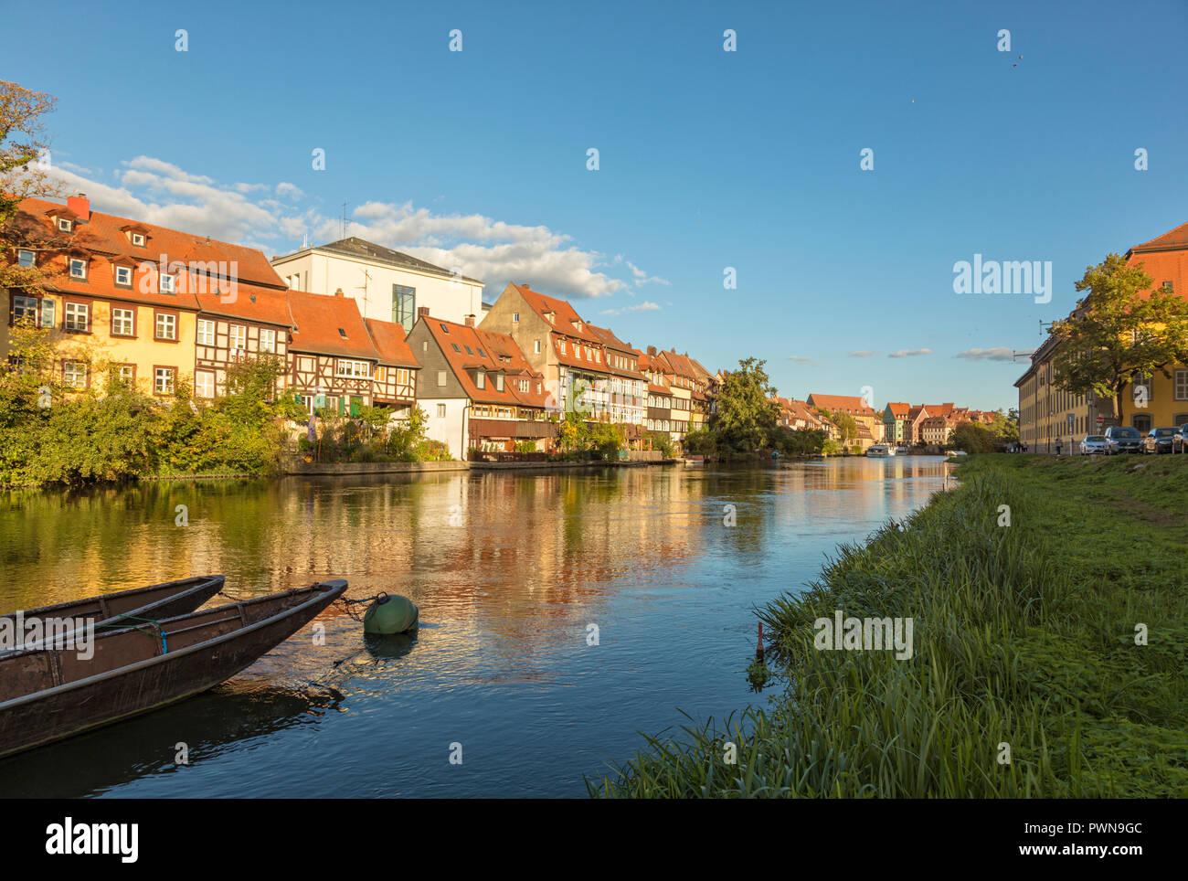 Klein-Venedig (Little Venice), historic quarter on the shore of Regnitz river at Bamberg, Bavaria, Germany - Stock Image