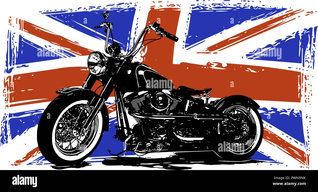 Custom Motorbike with great britain flag in background Stock Vector