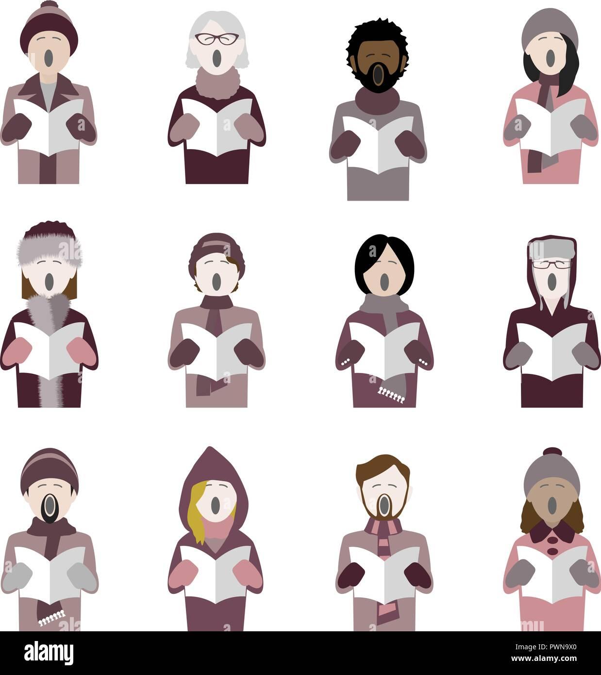 set of twelve icons of multiethnic adult christmas carol singers - Stock Vector