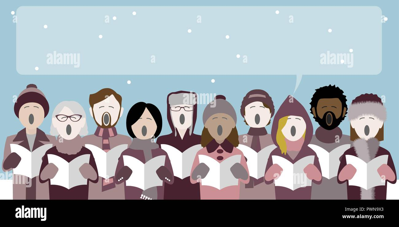 group of christmas carol singers with speech bubble for text - Stock Vector