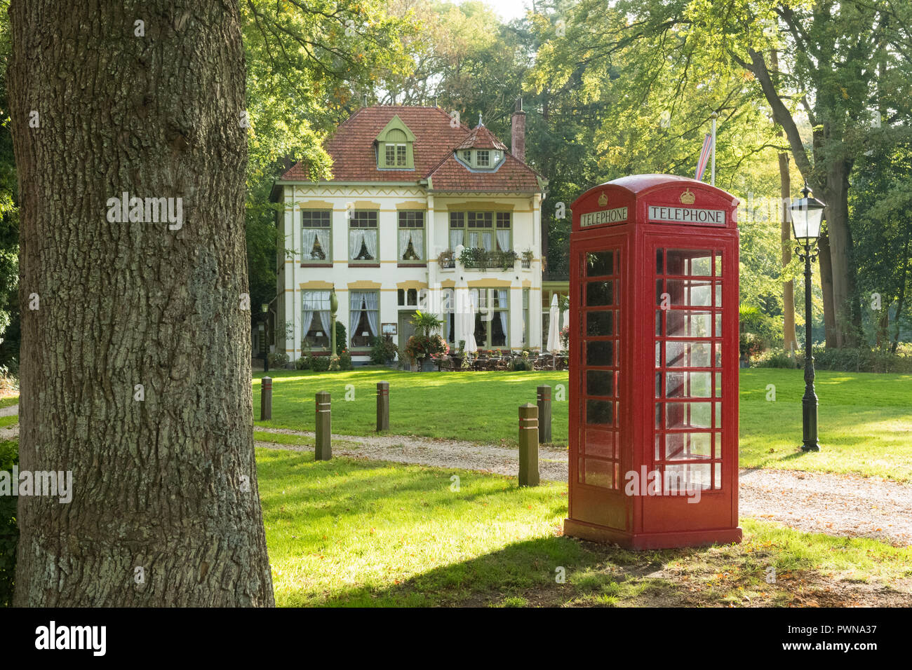 english tea room - 'Tea Time' - and red telephone box in Echten, Drenthe, Netherlands - Stock Image