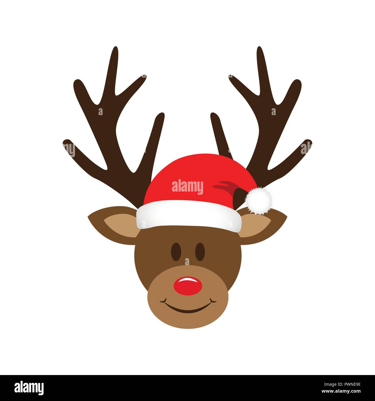 dded0f89bd67d cute reindeer with christmas santa hat vector illustration EPS10 ...
