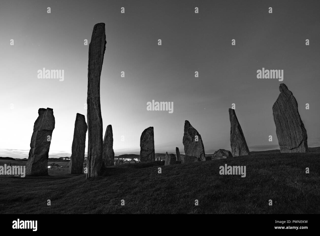 Stone Circle of Callanish at blue hour, isle of Lewis, Western Isles, Outer Hebrides, Scotland, UK - Stock Image