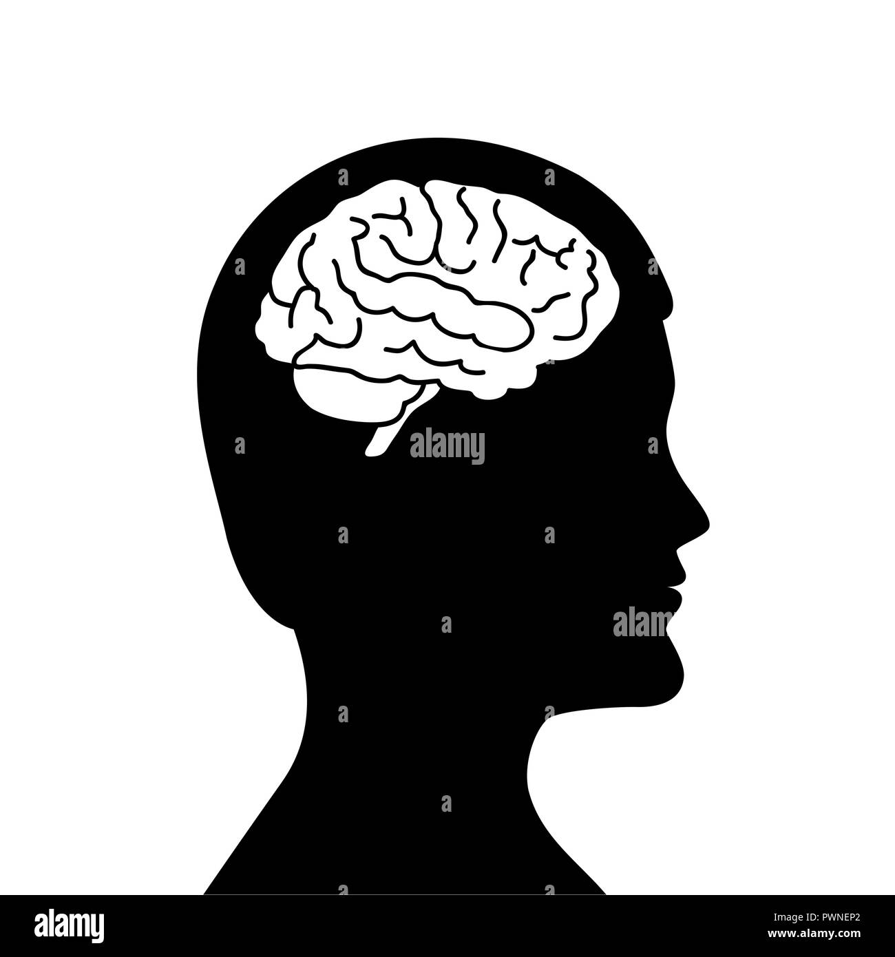 man with brain isolated silhouette symbol vector illustration EPS10 - Stock Image