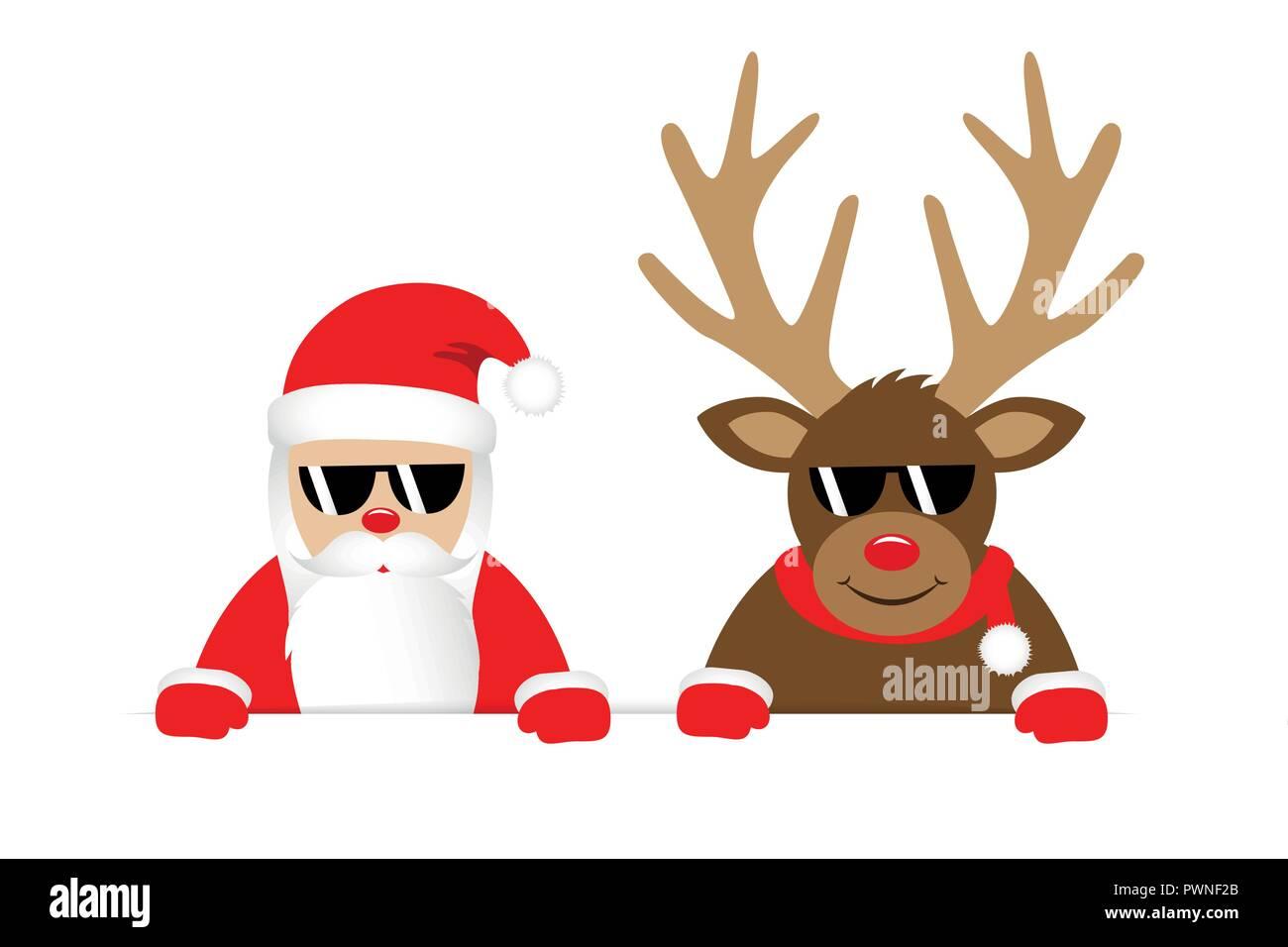 Reindeer And Santa Claus With Sunglasses Christmas Cartoon