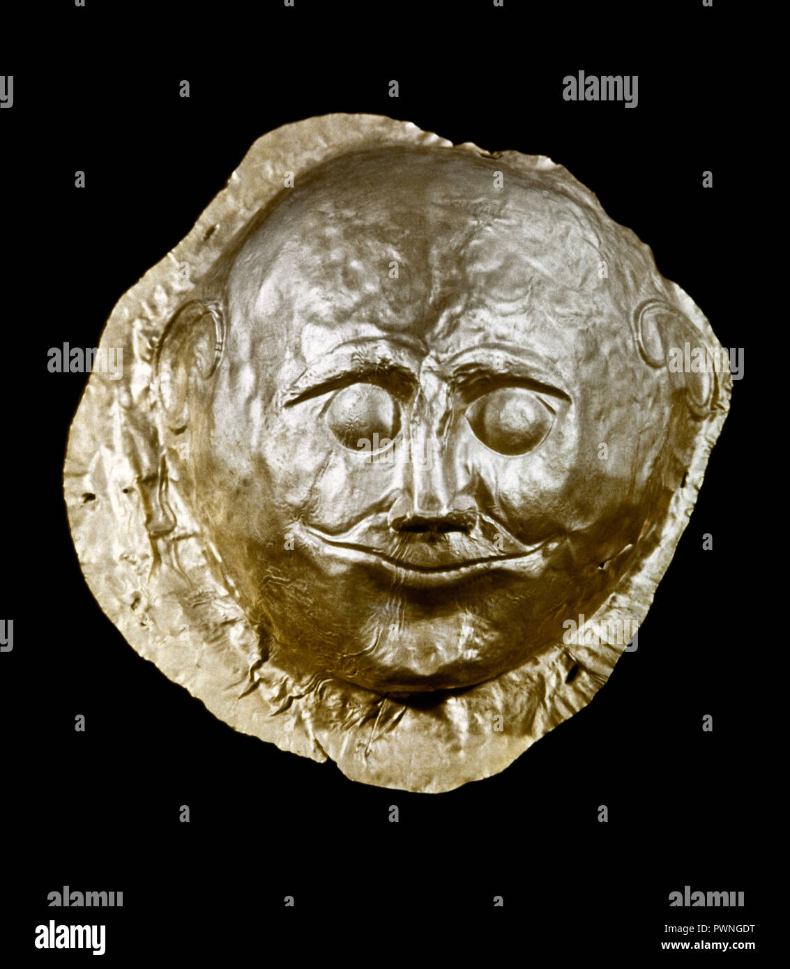 Funerary mask in gold foil by embossing. Tomb IV. Circle A. 16th century BC. Royal Tombs of Mycenae. National Archaeological Museum. Athens, Greece. - Stock Image