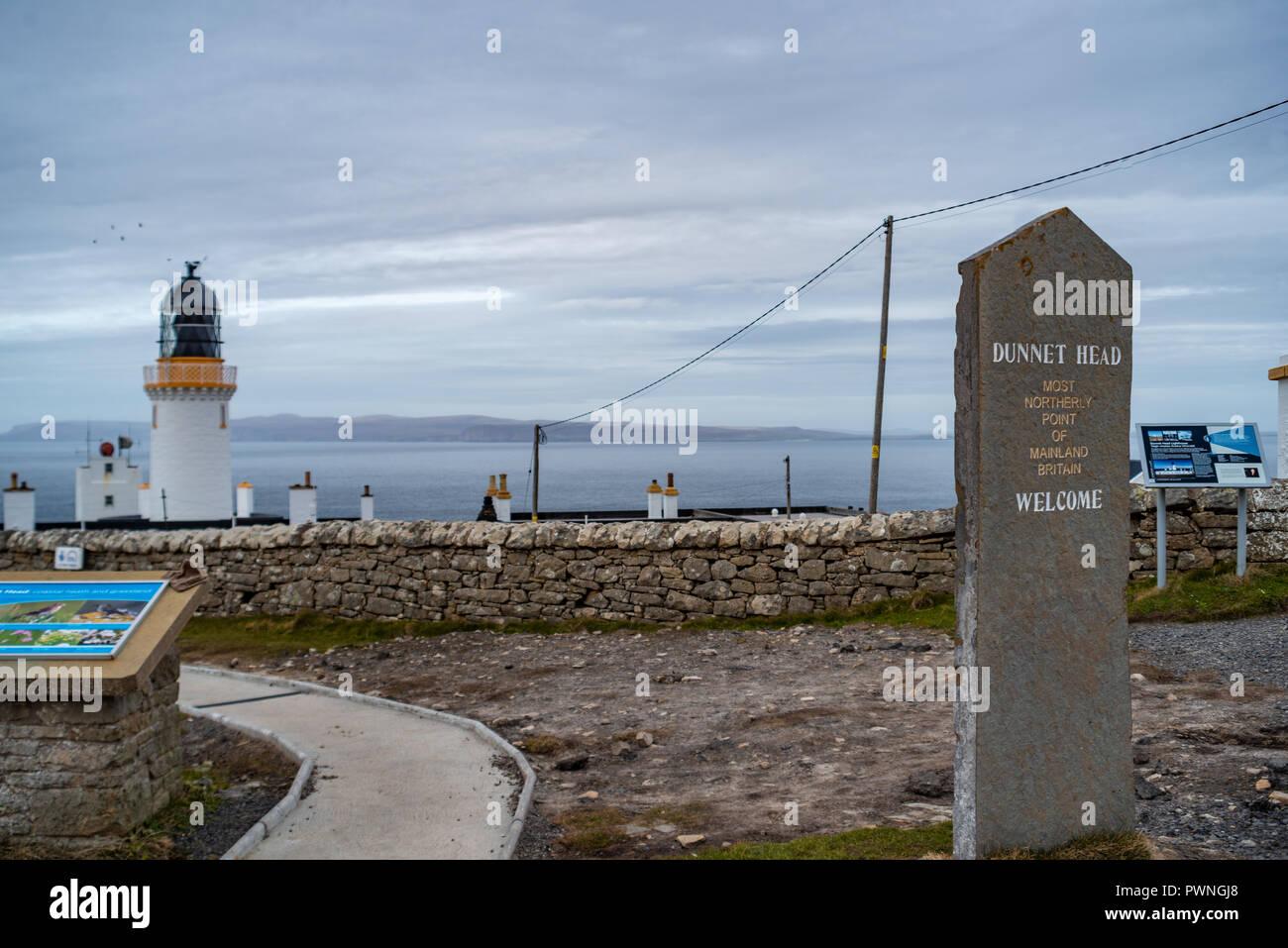 Lighthouse, Dunnet Head,, north coast, Scotland, Uk - Stock Image