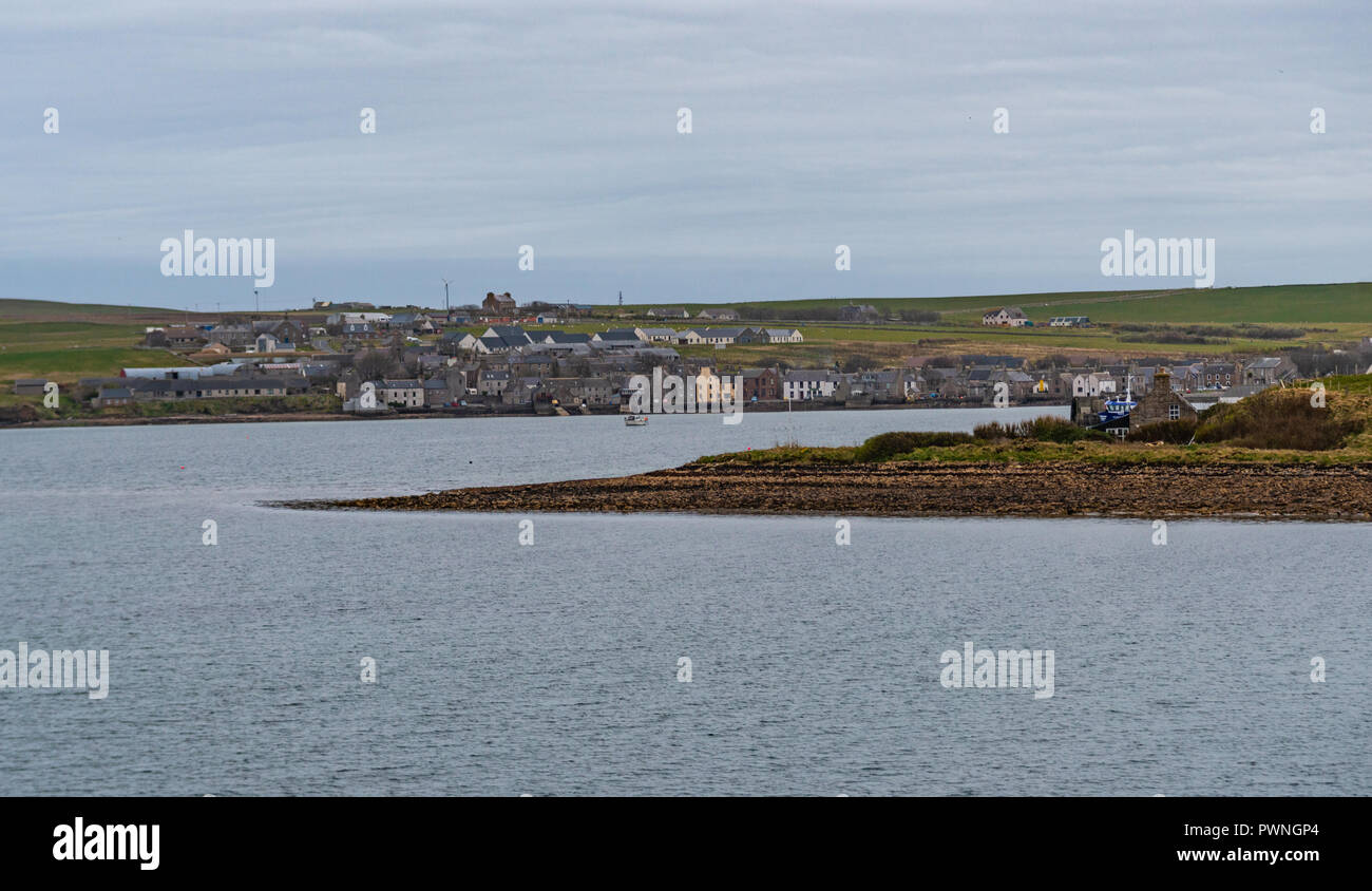 View from a ferry onto the waterfront of Stromness, Orkney Islands, Scotland, Uk Stock Photo