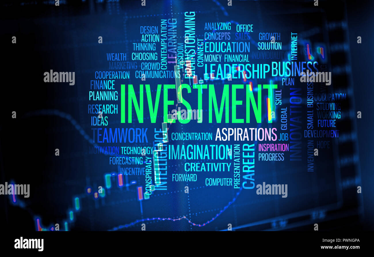 Finance and investment background, business word cloud over trade chart screen - Stock Image