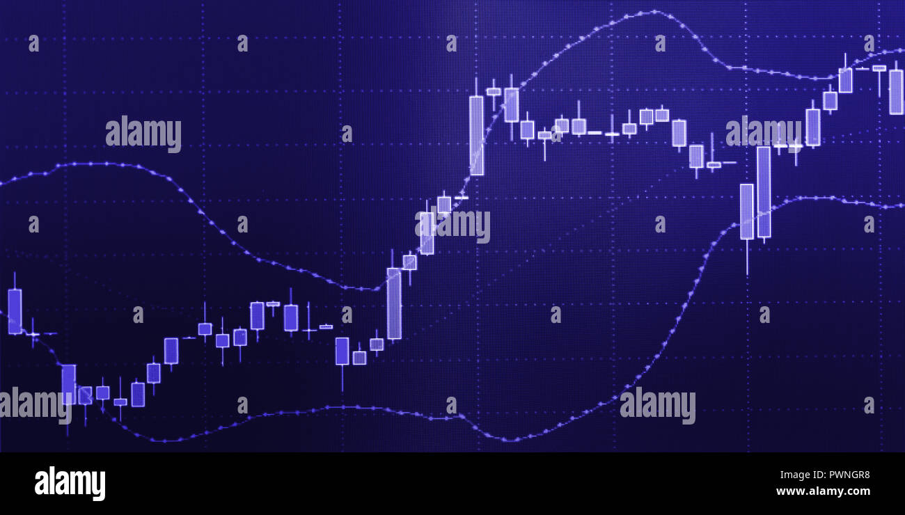 Business candle graph chart of stock market investment trading on computer screen - Stock Image