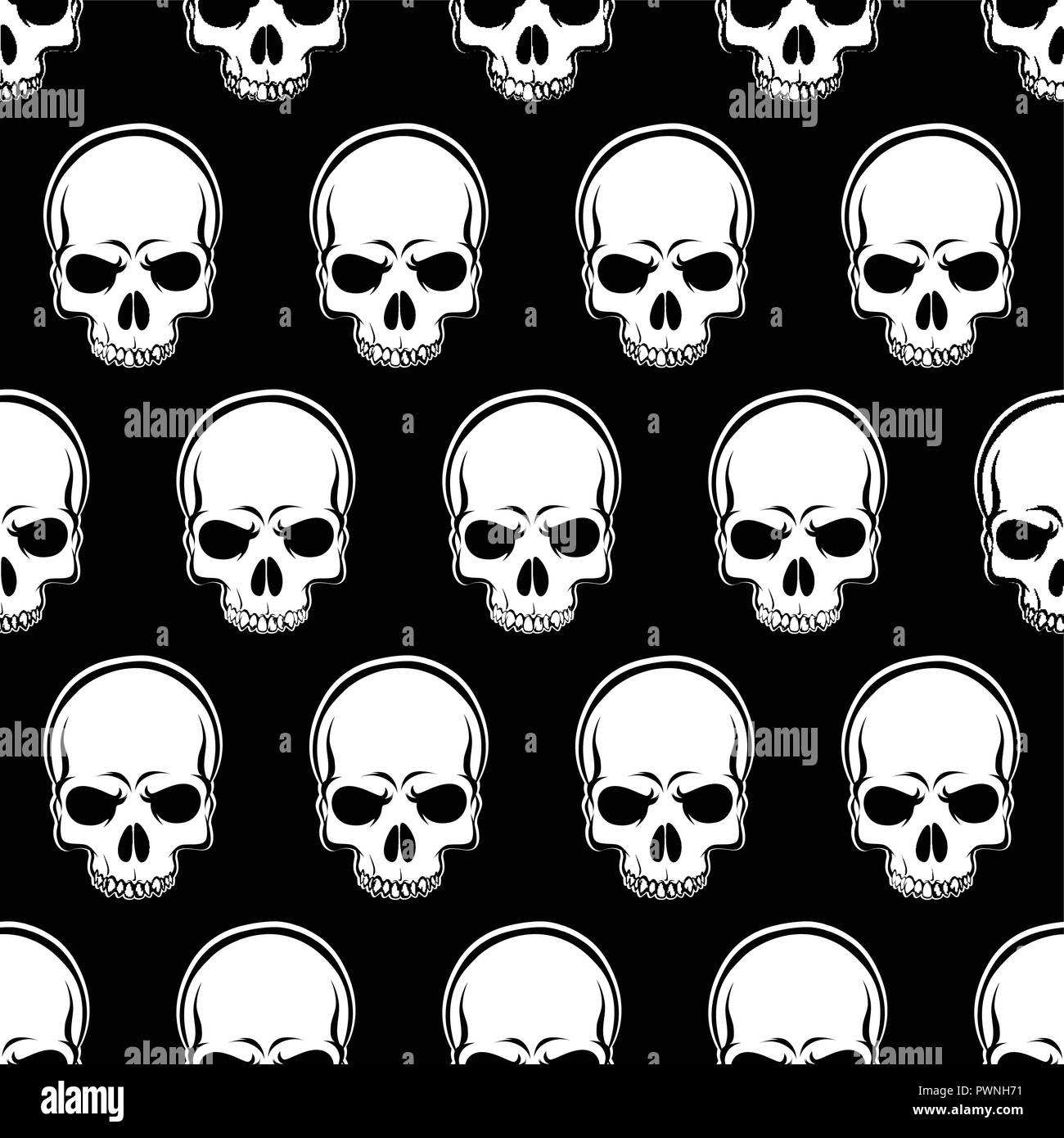 Vector Seamless Looped Pattern with Skulls in black and white - Stock Image
