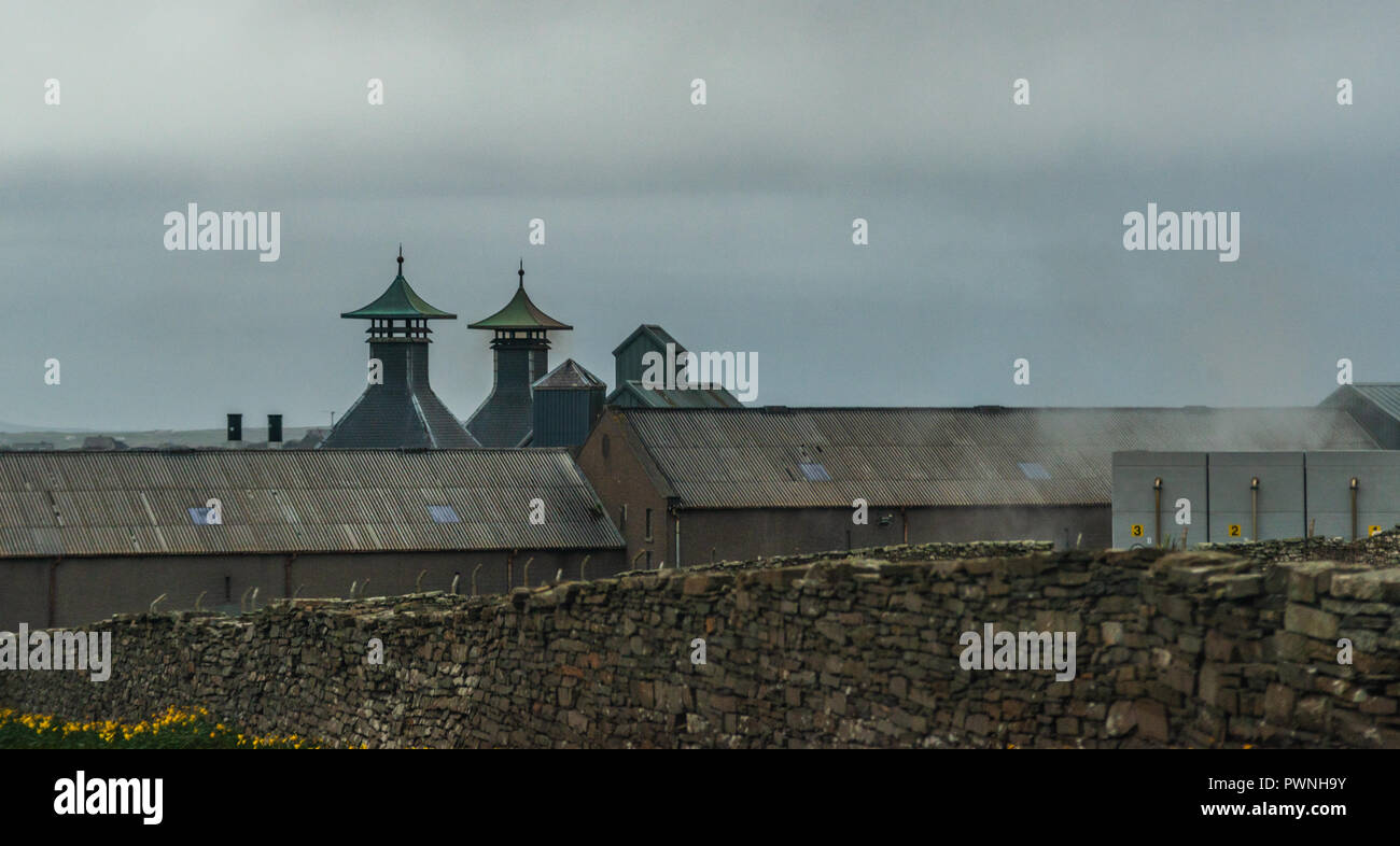 Chimneys of the Orkney Brewery near Stromness, Quoyloo, Mainland, Orkney, Scotland, United Kingdom - Stock Image