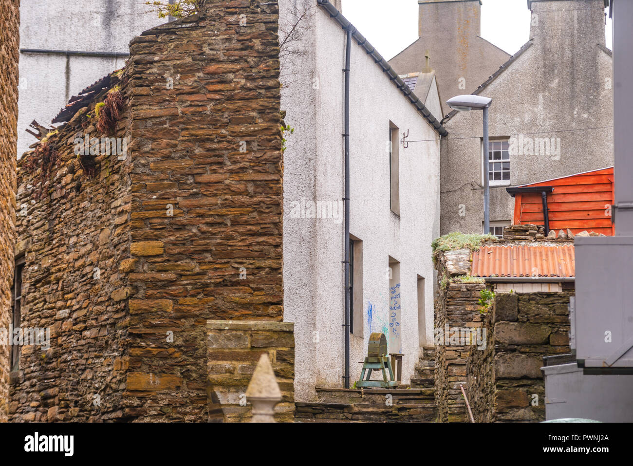 Stone cottages of Stromness ,Mainland ,Orkney Islands, Scotland Stock Photo