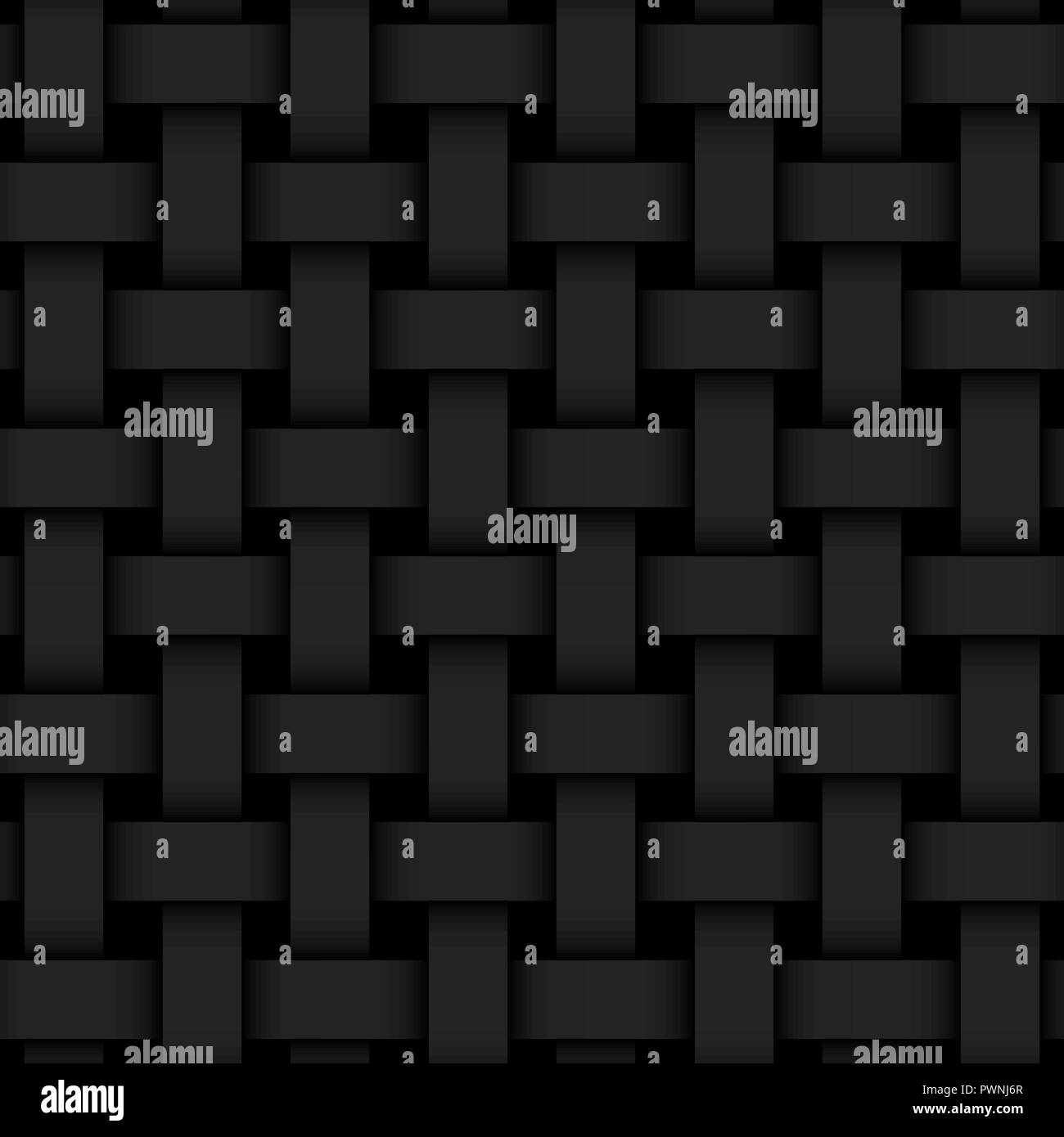 Black 3d geometric seamless background with weaving pattern - Stock Vector