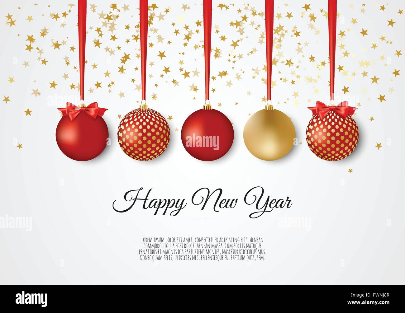 stock vector enlarge gold and red decorative christmas balls new year background