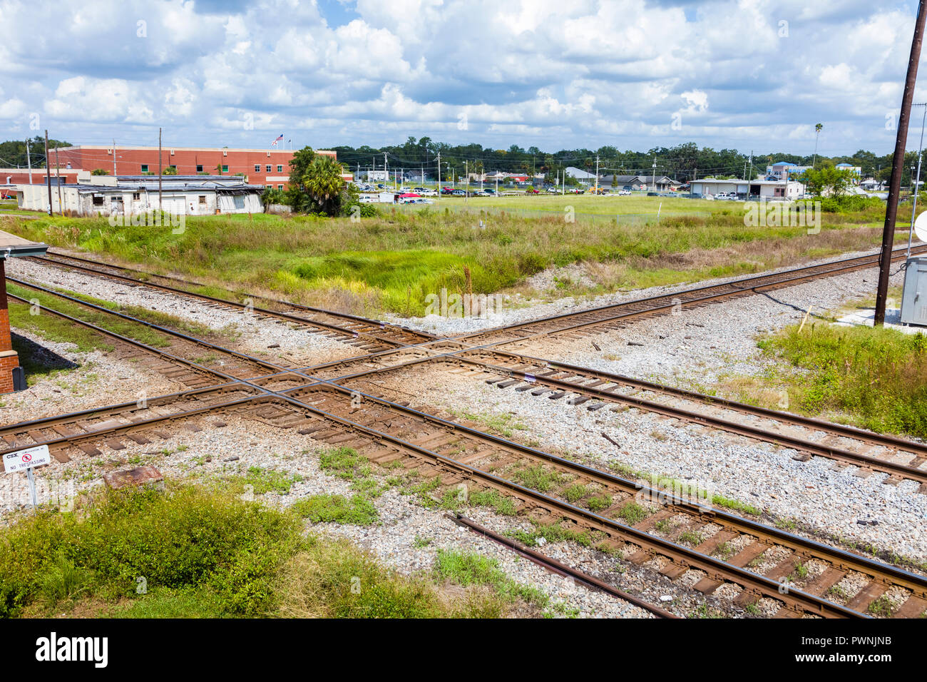 Railroad tracks at the Union Station Depot and Train Veiwing