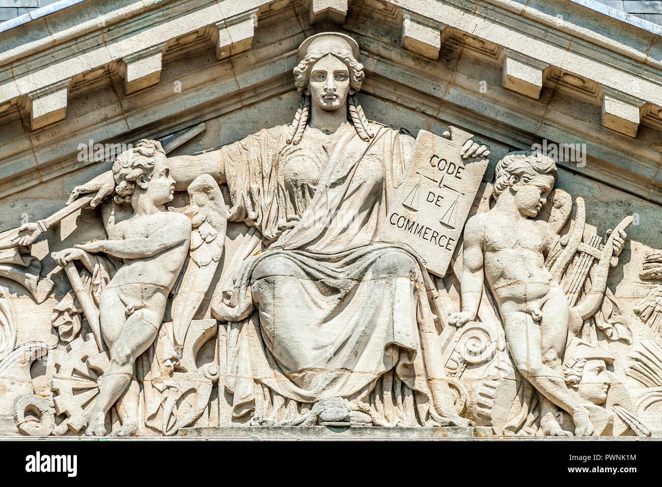 France, Gironde, Bordeaux, pediment on a palace of the place de la Bourse (World Heritage UNESCO) - Stock Image
