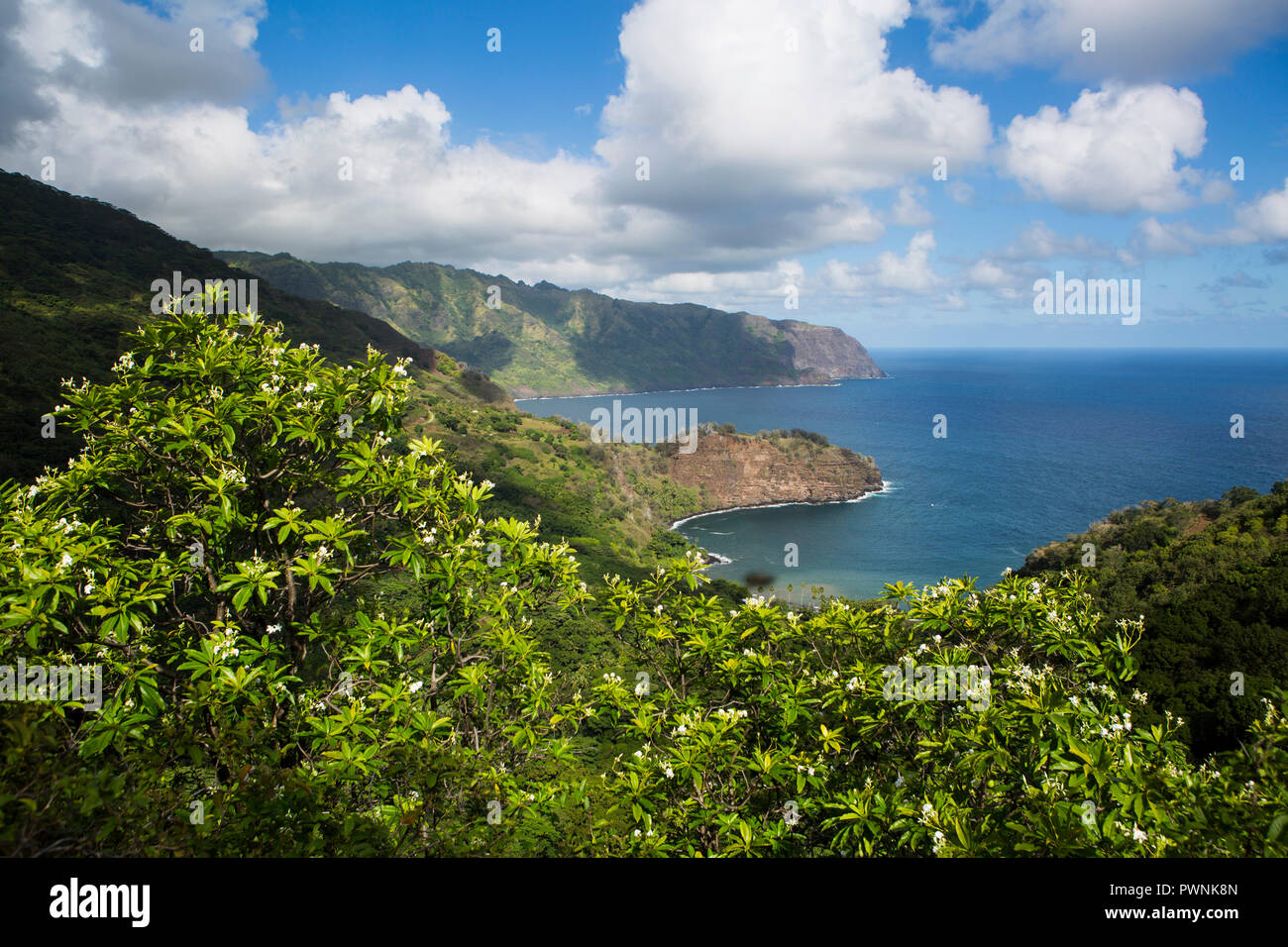 North coast of Hiva Oa Island and Matanau Bay, Marquesas Islands, French Polynesia - Stock Image