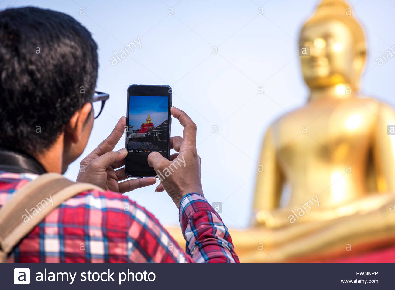 Traveler use smartphone take a picture, Asia travel - Stock Image