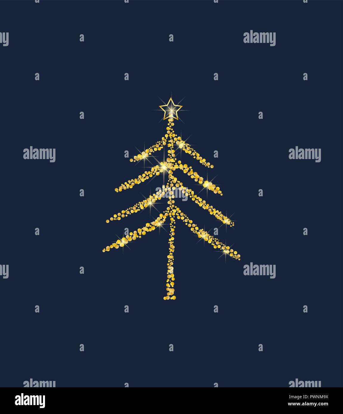 Golden Christmas Tree Stock Vector Art Illustration Vector Image