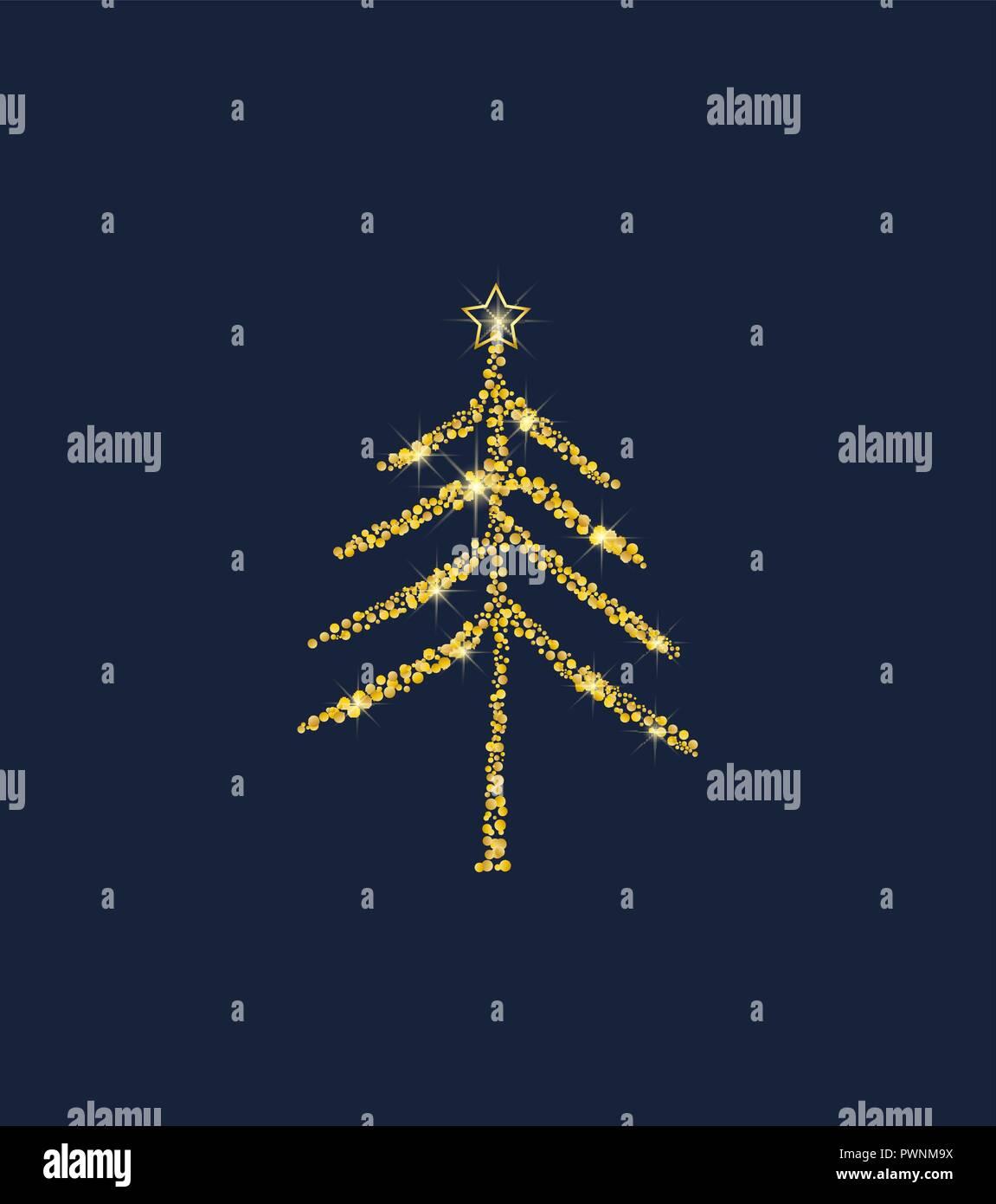 Golden Christmas Tree Stock Vector Art Illustration Vector Image
