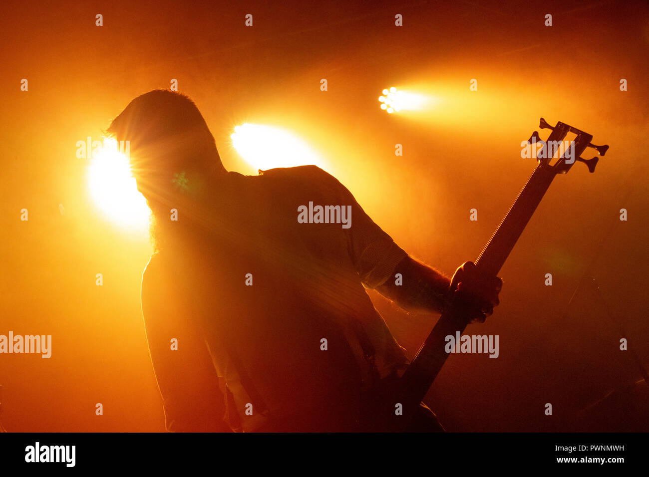 Russian Circles (bass player Brian Cook) - May 2018 - Leeds Stylus - Stock Image