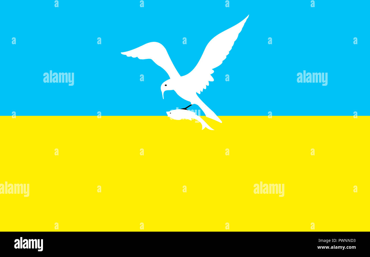 Flag of the Polish city of Sopot - Caution: For the editorial use only. Not for advertising or other commercial use! - Stock Image