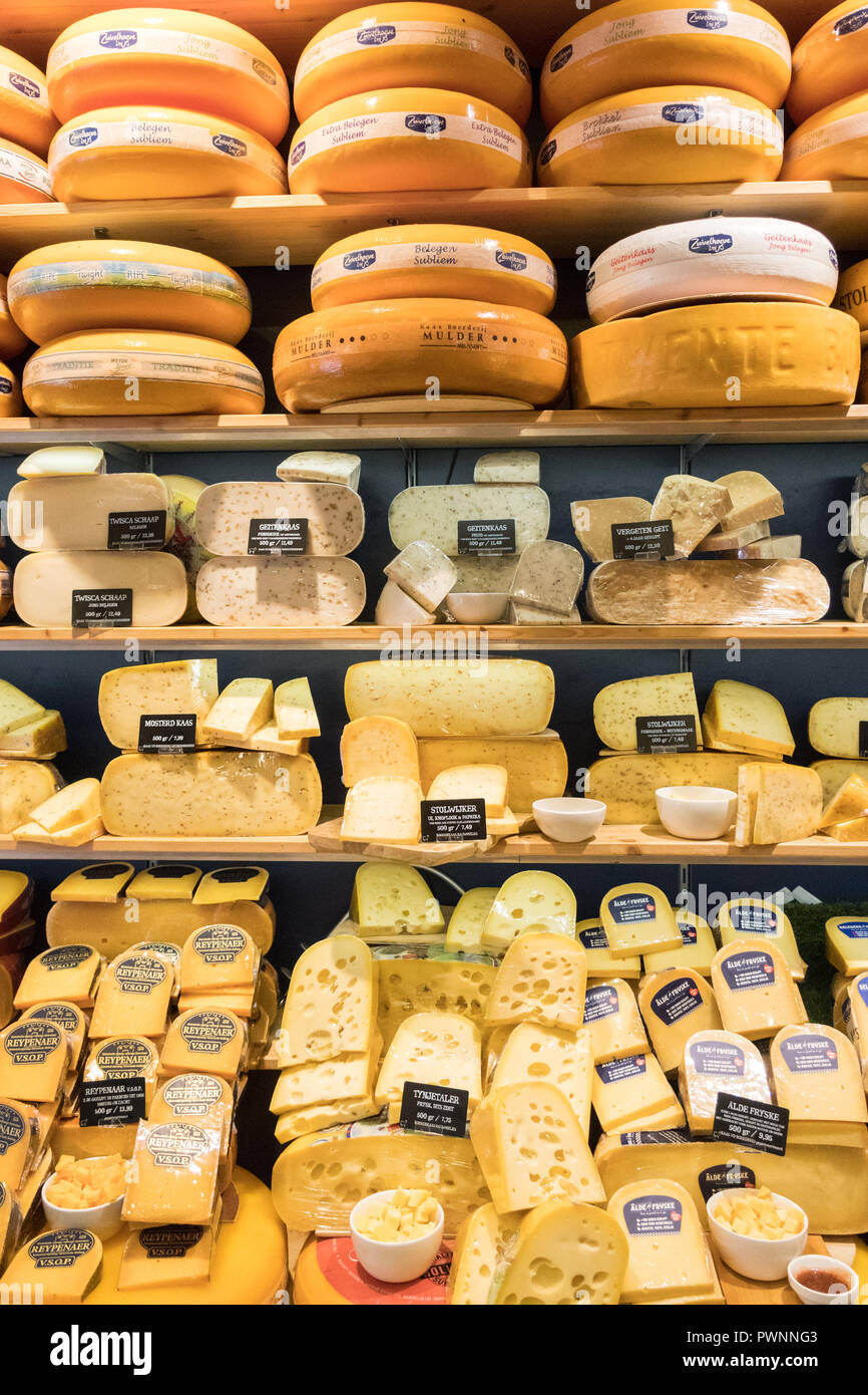 display of cheese on sale at Zuivelhoeve cheese shop, Leeuwarden, Netherlands Stock Photo
