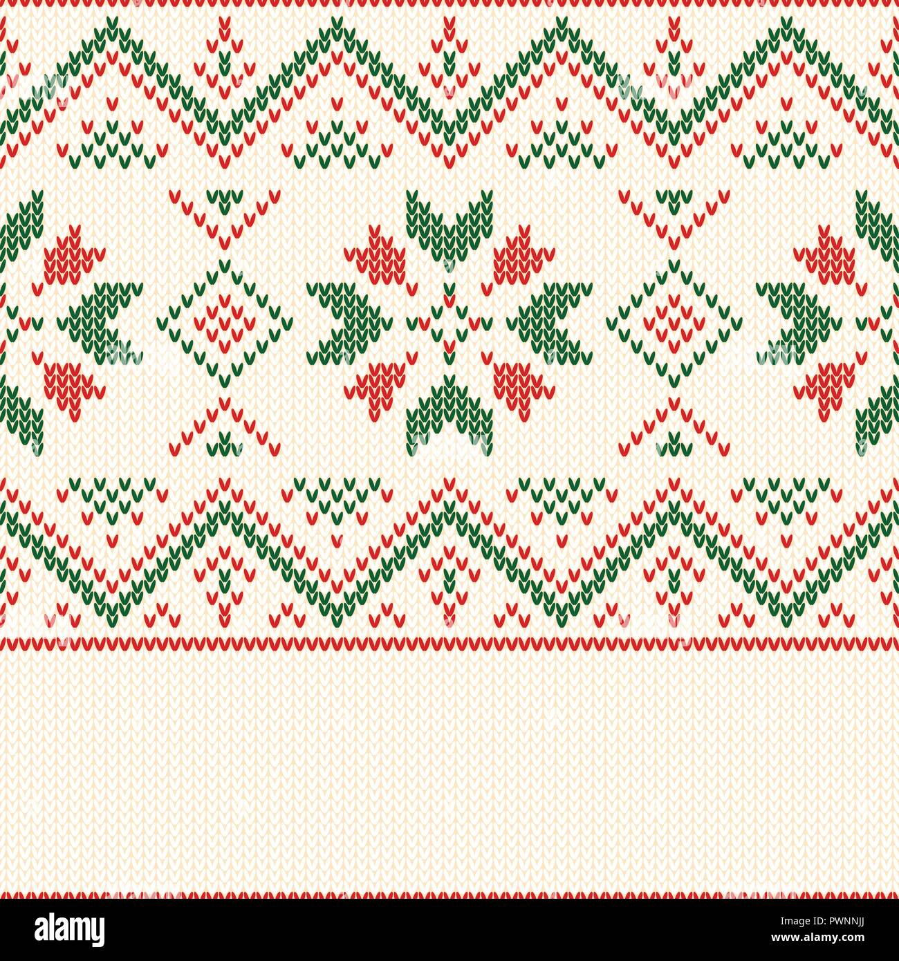 Christmas knitted pattern. Winter geometric seamless pattern. Design for sweater, scarf, comforter or clothes texture. Vector illustration. - Stock Vector