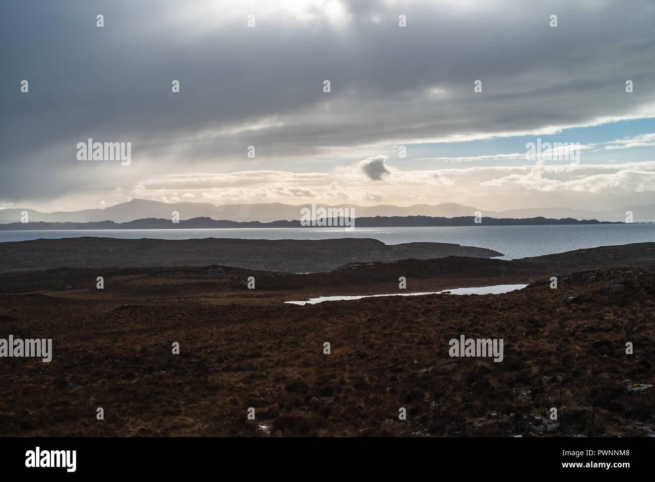 View onto the Isle of Skye from the Applecross Peninsula, Western Highlands, Scotland, Uk Stock Photo