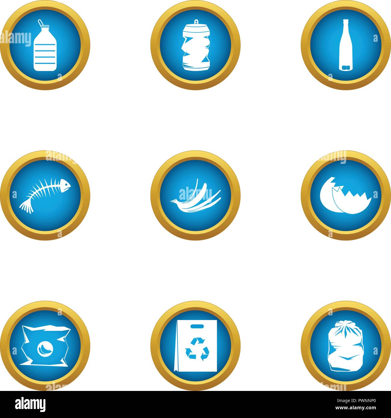 Production garbage icons set, flat style - Stock Vector