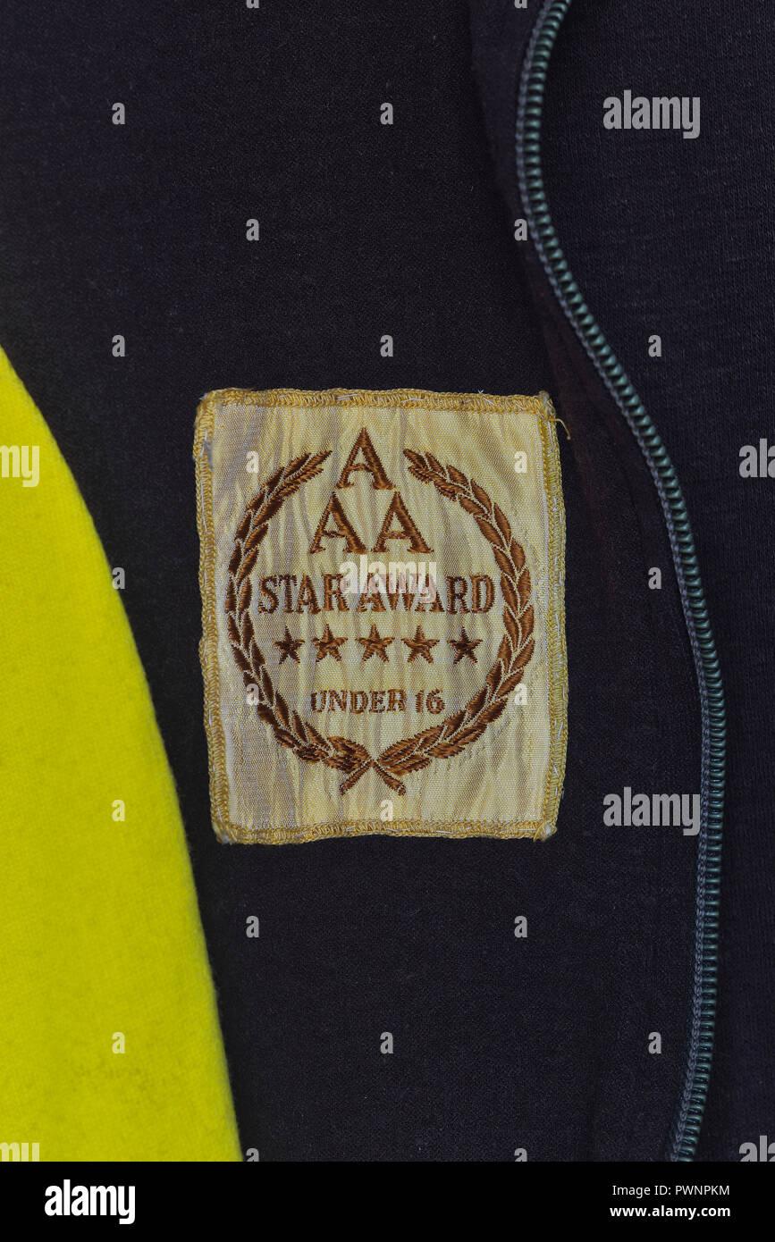 AAA five star award badge, under 16, UK, Circa 1970's - Stock Image