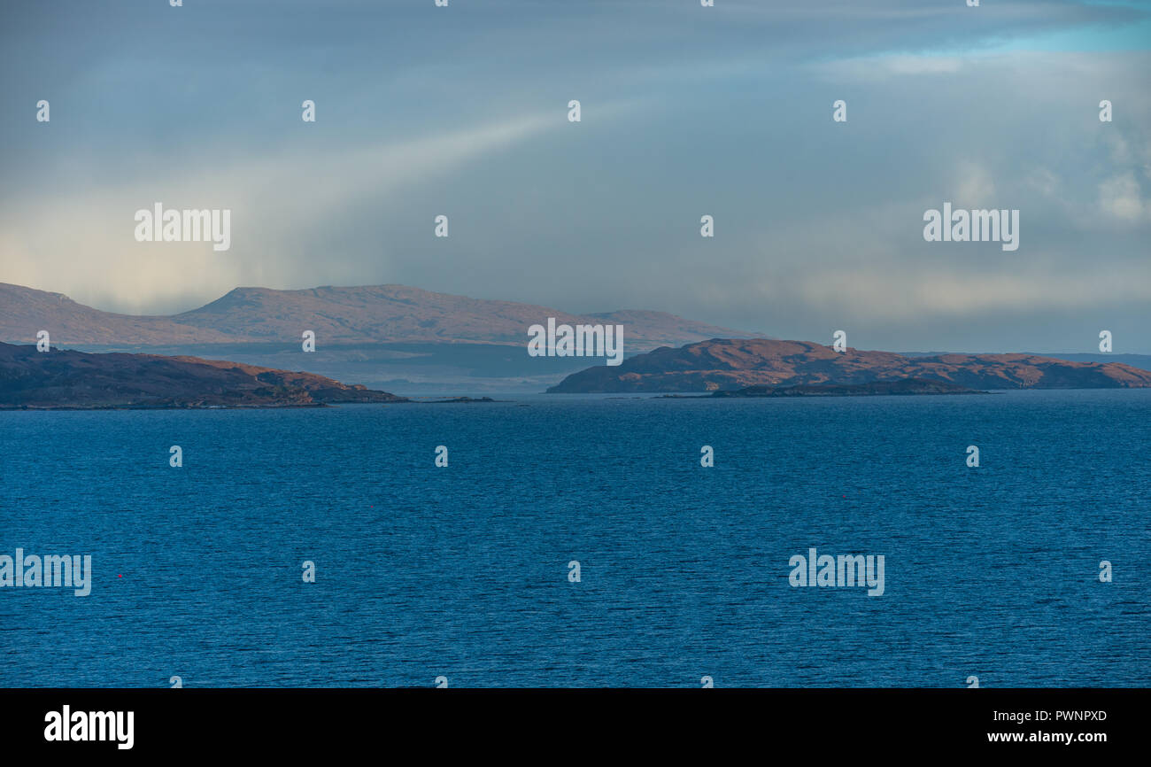 View onto the Isle of Skye from the Applecross Peninsula, Western Highlands, Scotland, Uk - Stock Image