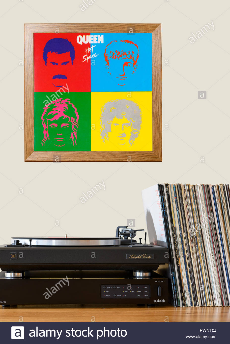 Record player and framed album cover, Queen Hot Space, England - Stock Image