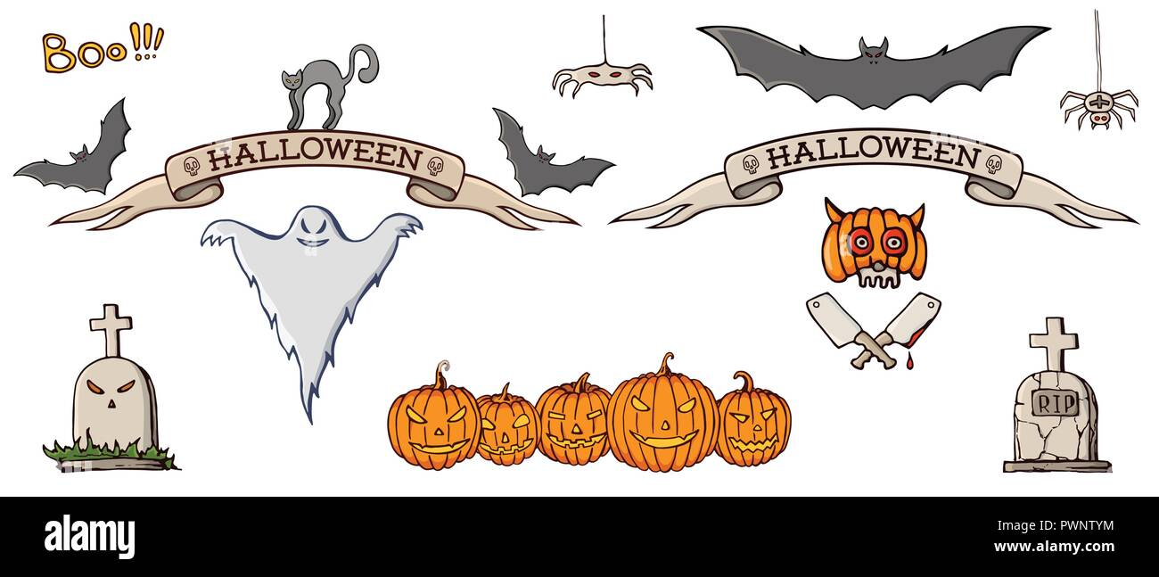 set of color hand drawn doodle cartoon elements of halloween