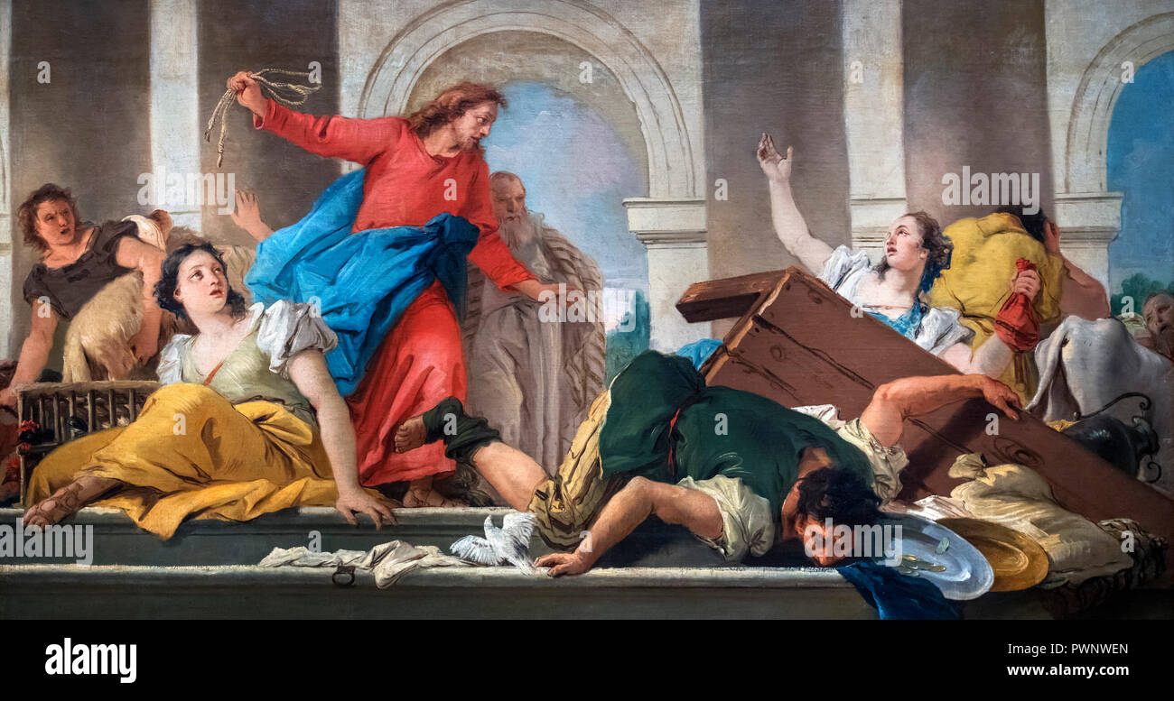 The Expulsion of the Moneylenders from the Temple by Giovanni Domenico Tiepolo (1727-1804), oil on canvas, 1750-53 - Stock Image