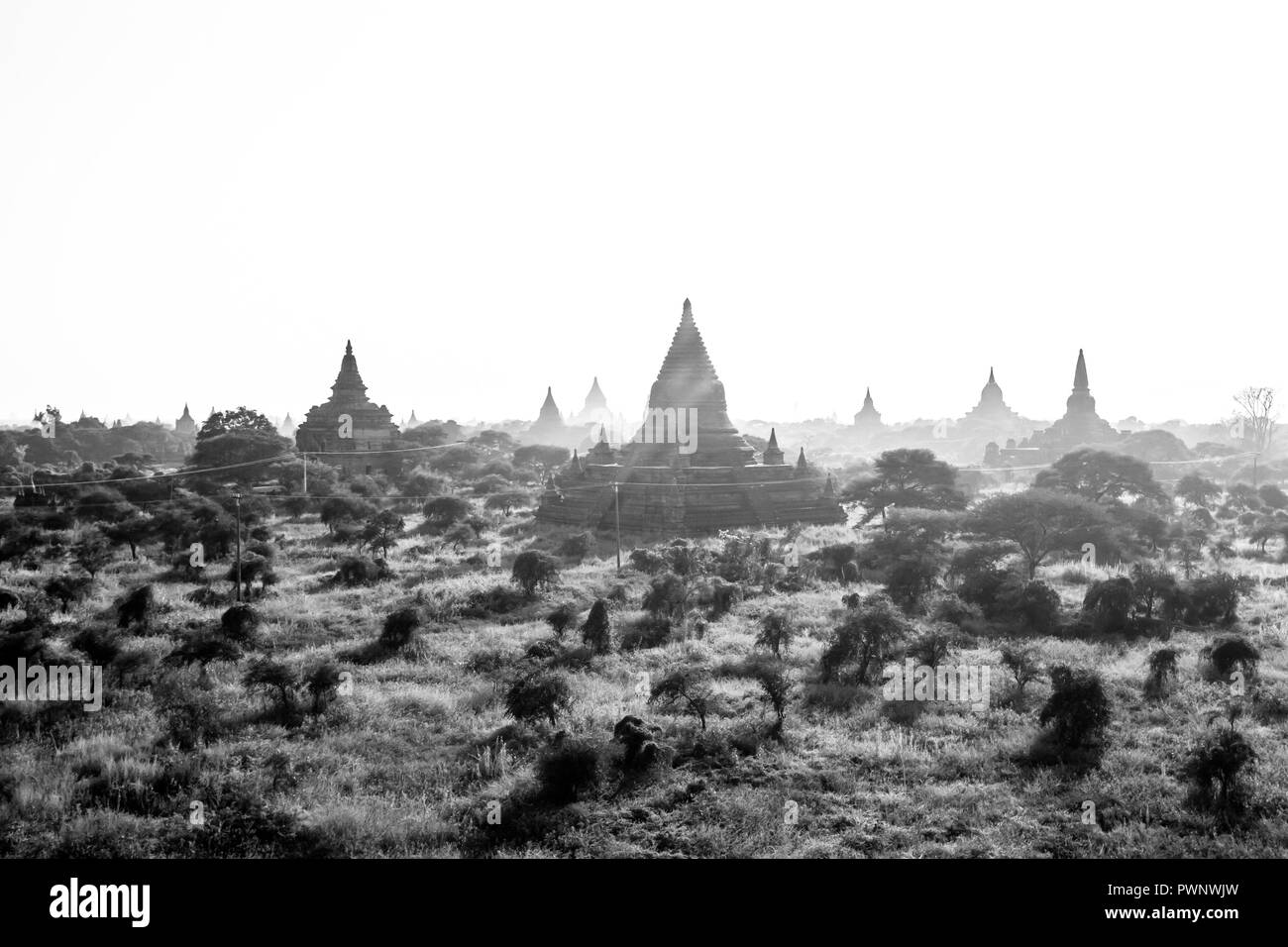Landscape of Bagan and temples, stupas, Myanmar - Stock Image