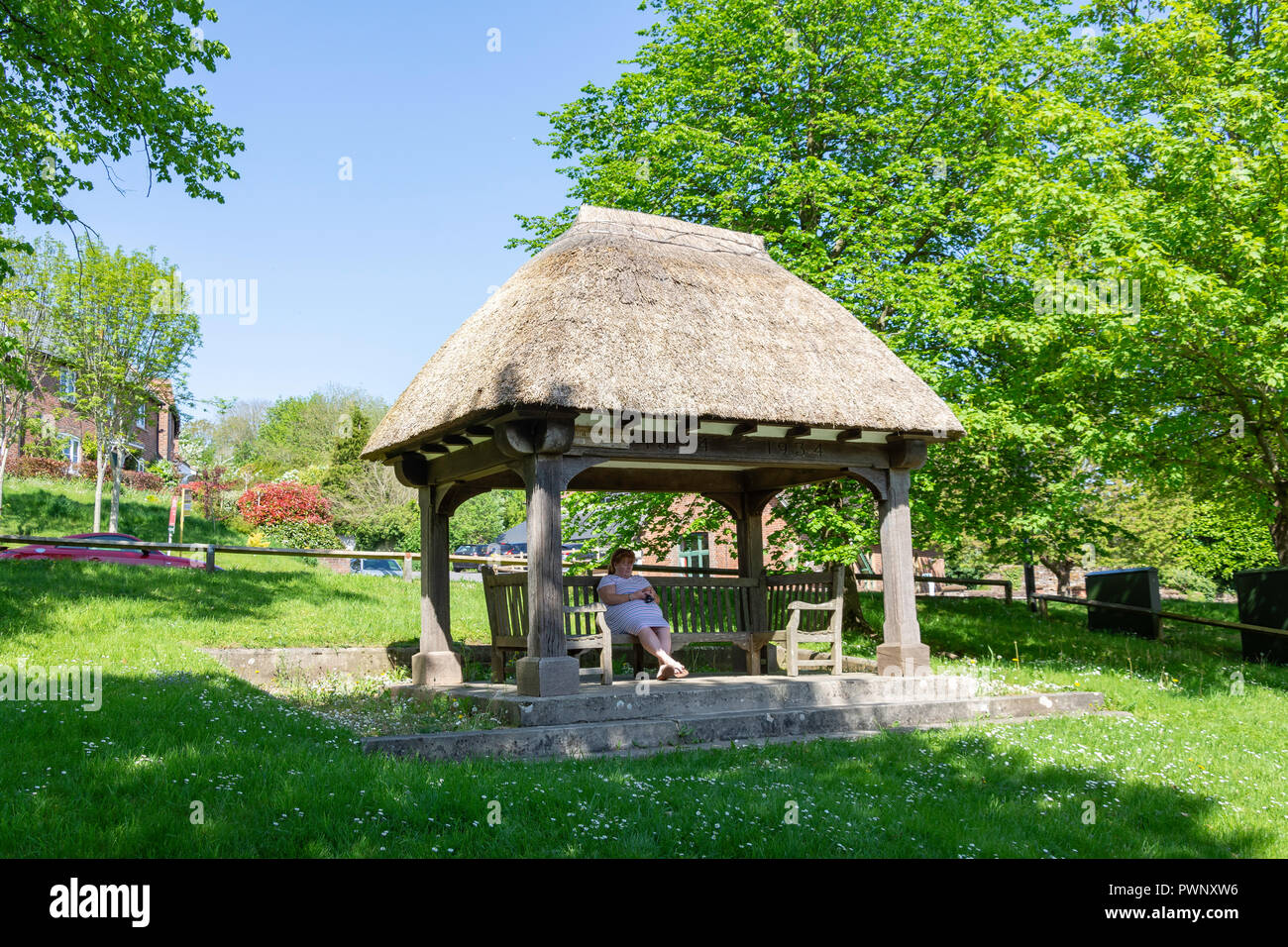 The Martyrs' Tree and Memorial Shelter on The Green, Tolpuddle, Dorset, England, United Kingdom - Stock Image