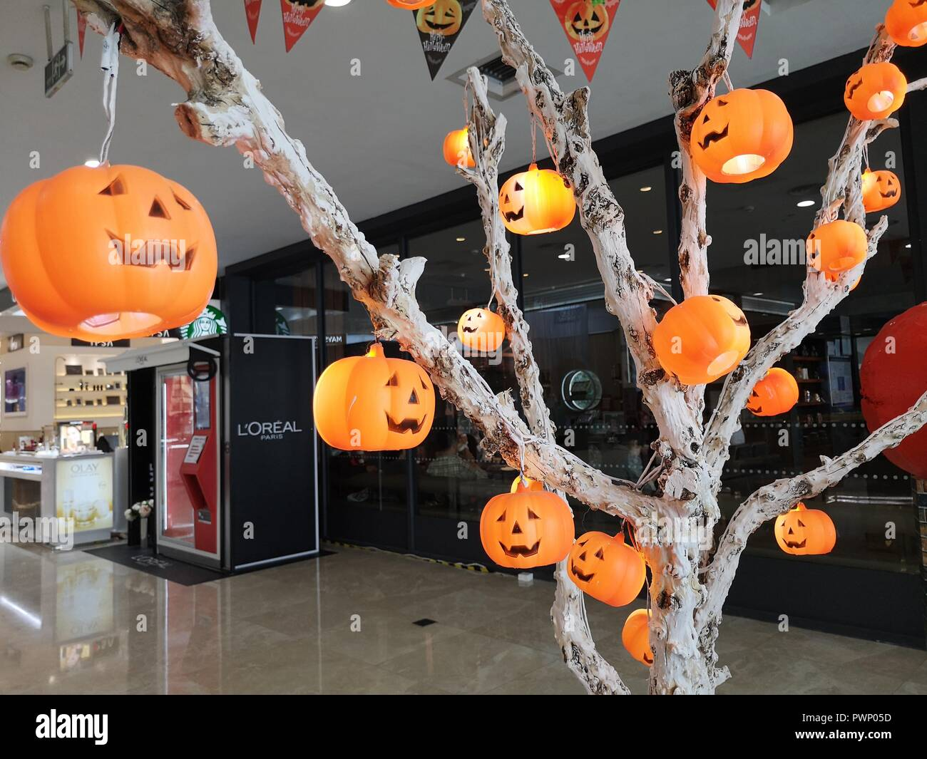hefei china various halloween themed installations can be seen at a shopping mall in hefei east chinas anhui province october 17th 2018