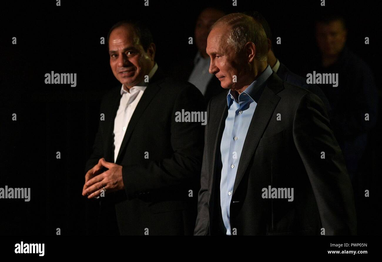 Russian President Vladimir Putin walks with Egyptian President Abdel Fattah el-Sisi, left, for an Informal meeting while taking an evening out around the city October 16, 2018 in Sochi, Russia. - Stock Image