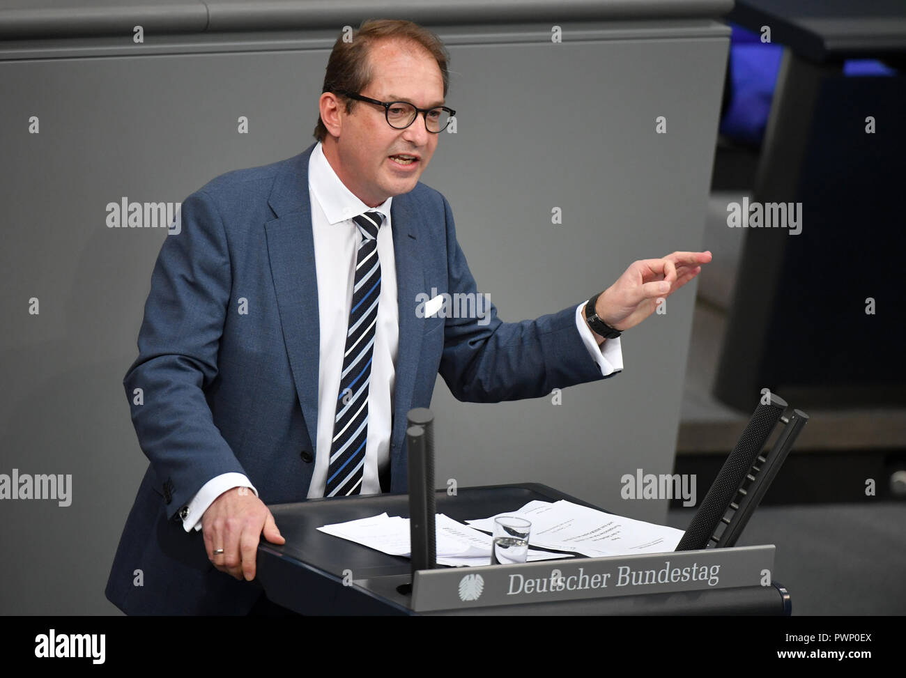 Berlin, Germany. 17th Oct, 2018. Alexander Dobrindt, chairman of the CSU regional group, speaks after the government declaration on the EU summit in Brussels of Chancellor Merkel (CDU) at the plenary session in the German Bundestag. The 57th session of the 19th legislature will focus on European policy. Photo: Bernd Von Jutrczenka/dpa Credit: dpa picture alliance/Alamy Live News - Stock Image