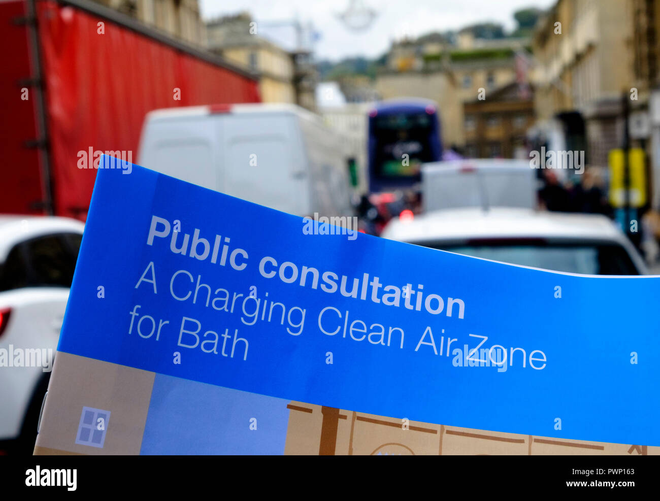Bath, Somerset, UK. 17th Oct 2018. Bath and North East Somerset Council are taking action about the poor air quality in Bath city center. To reduce NO2 levels in the city they propose to charge drivers of high polluting vehicles to drive in the city center from 2020 © JMF News/Alamy Live News - Stock Image