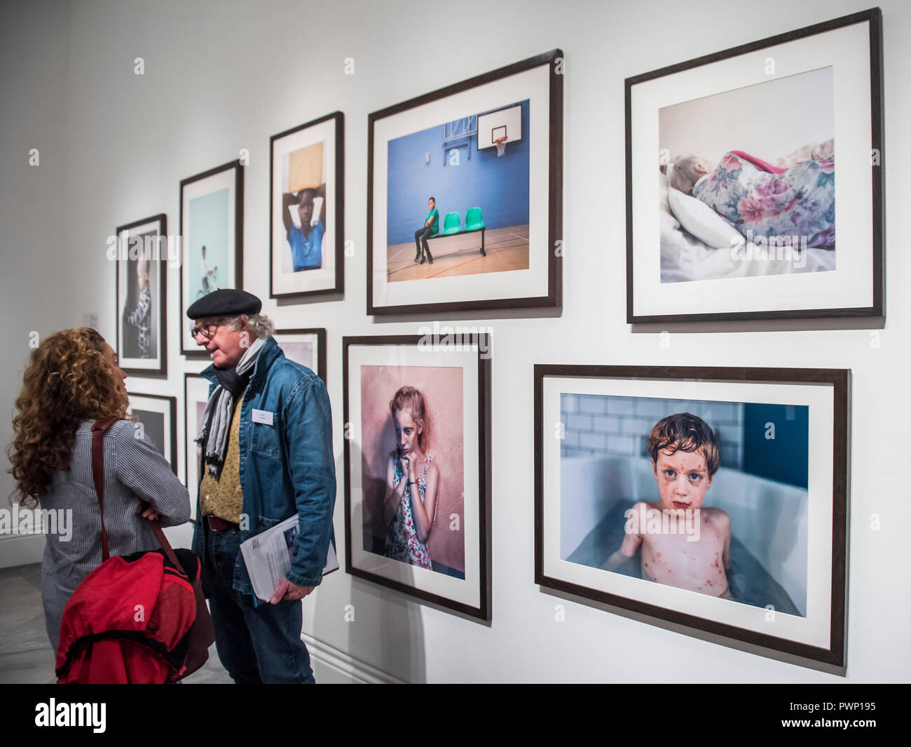London, UK. 17th Oct, 2018. Shortlisted portraits on display at the National Portrait Gallery, London, as part of the Taylor Wessing Photographic Portrait Prize 2018 exhibition from 18 October 2018 to 27 January 2019. Credit: Guy Bell/Alamy Live News - Stock Image