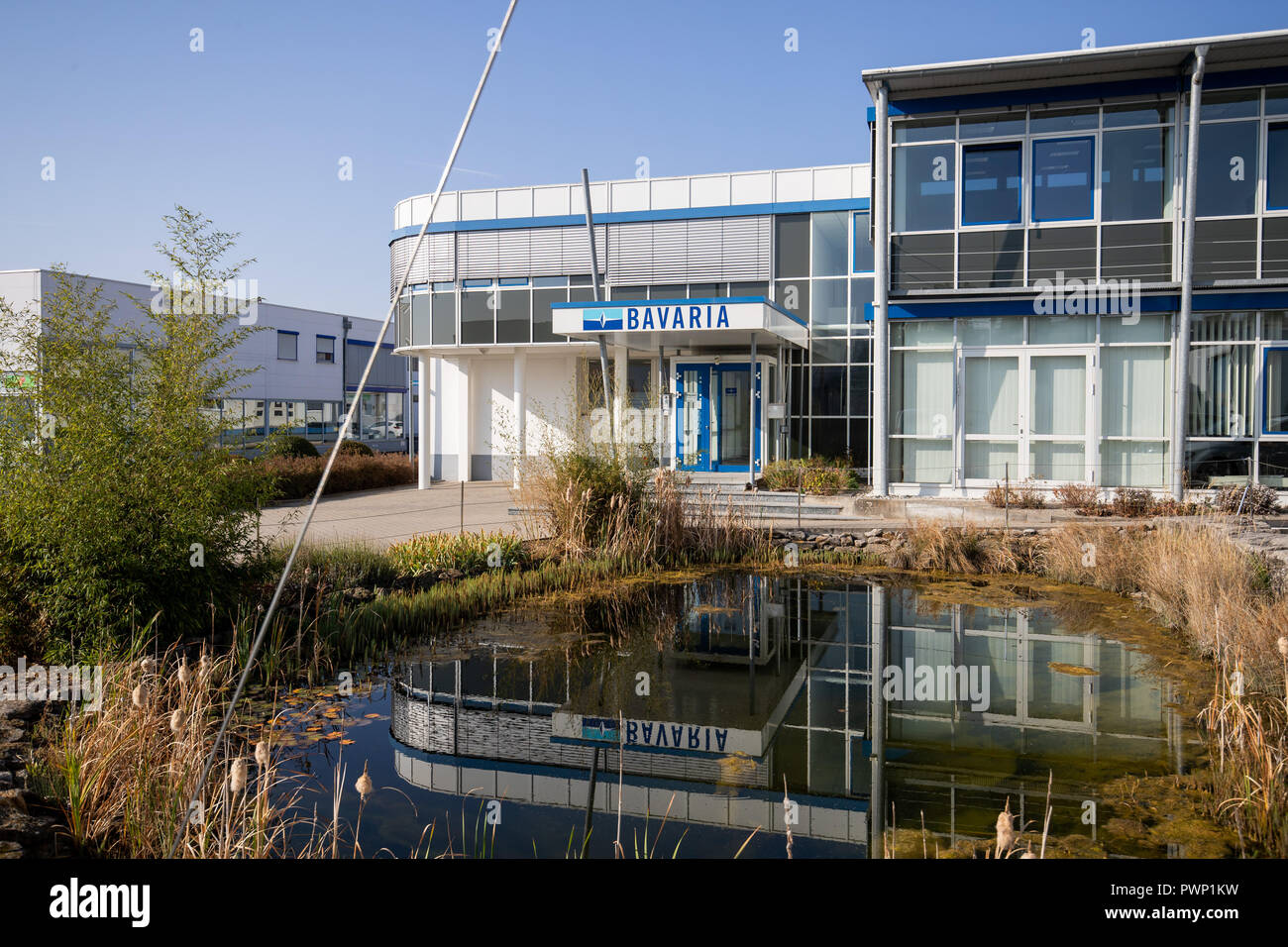 Giebelstadt, Bavaria. 17th Oct, 2018. Exterior view of the administration building of the Bavarian boat builder Bavaria Yachtbau. Credit: Daniel Karmann/dpa/Alamy Live News Stock Photo