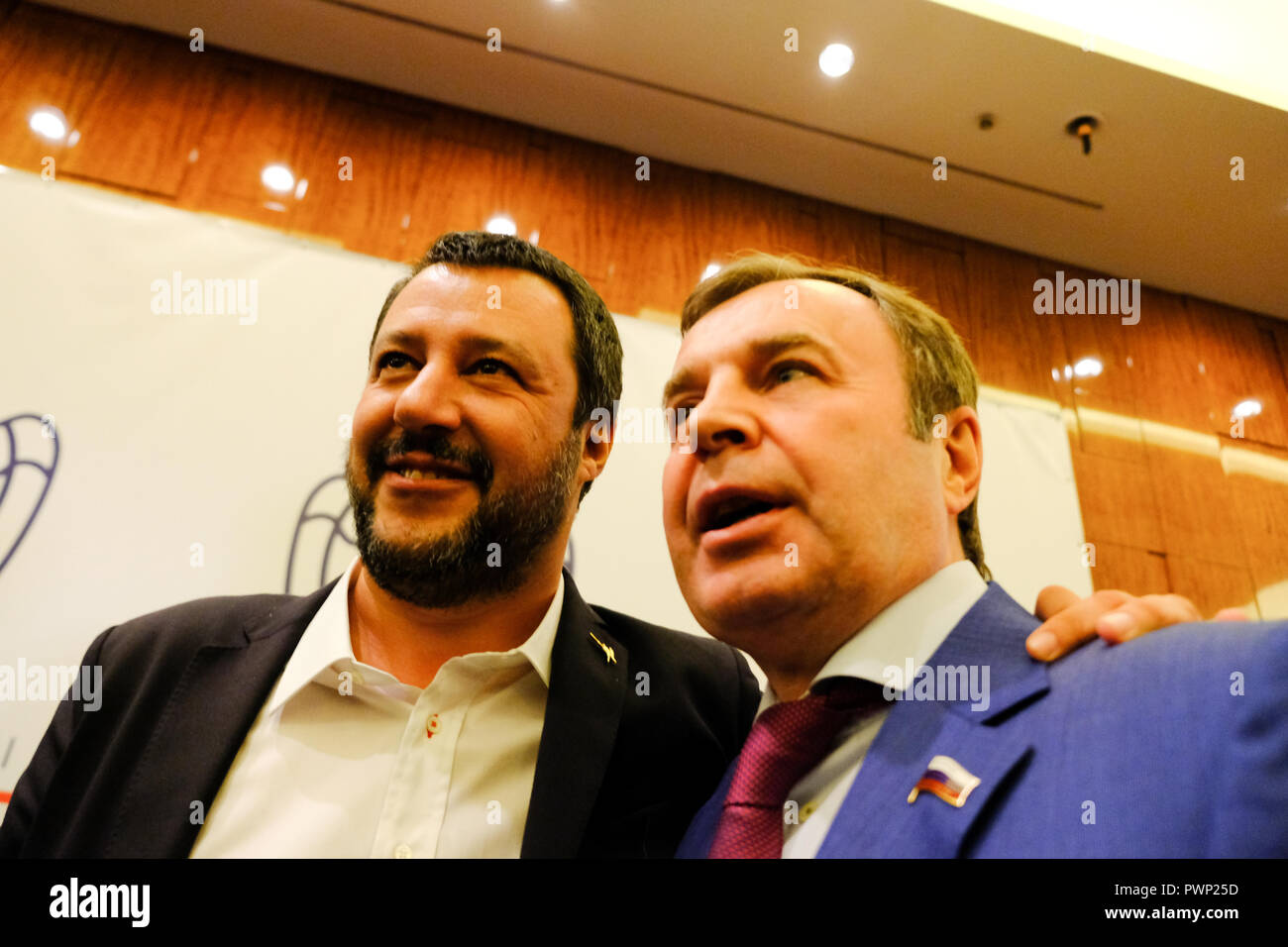 Moscow, Russia. 17th Oct, 2018. Moscow Russia. Vice premier and italian minister Matteo Salvini at the annual meeting of italian Confindustria Russia Credit: Marco Ciccolella/Alamy Live News - Stock Image