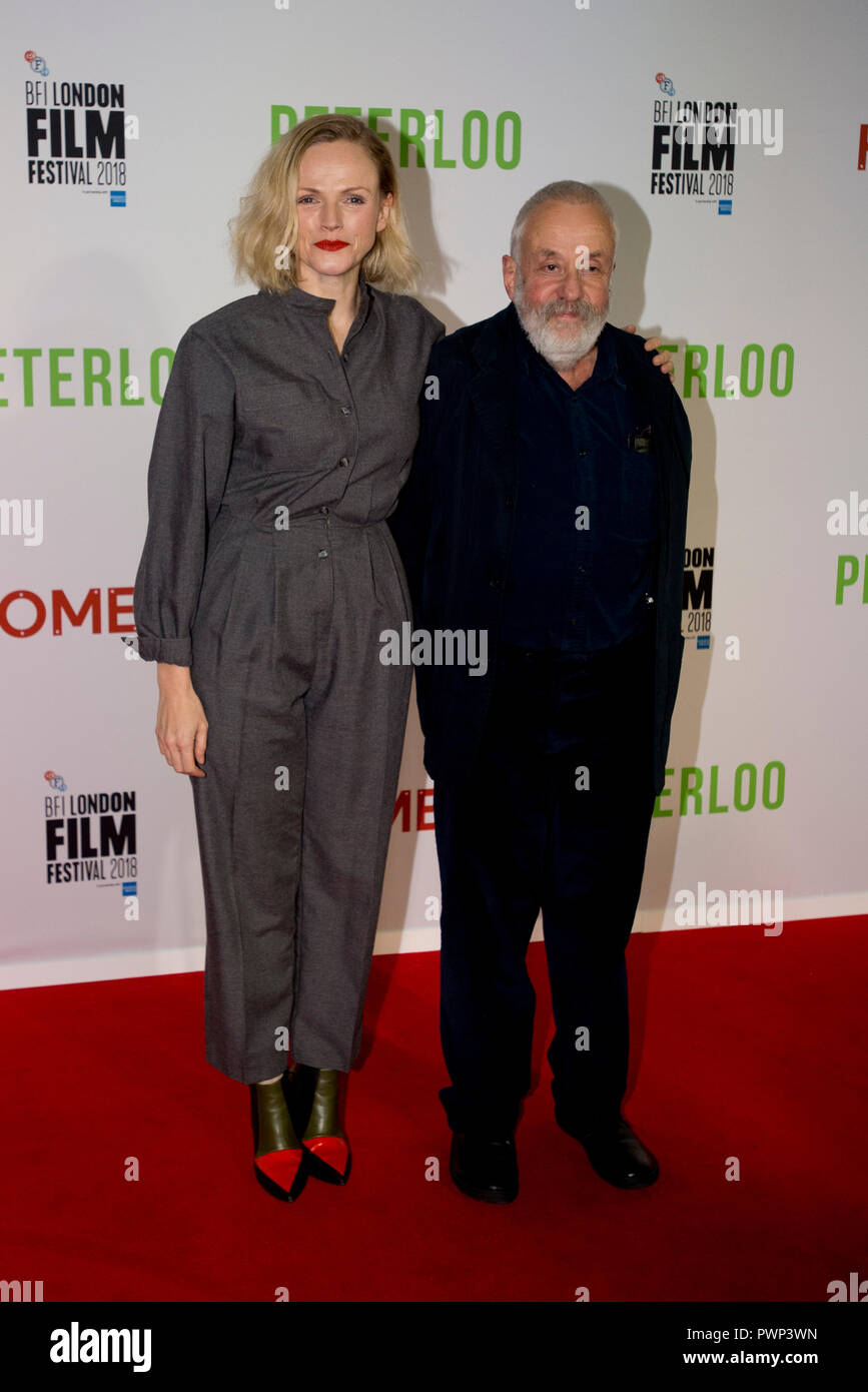 Manchester, UK. 17th October 2018. Actress Maxine Peake (left) who plays the character Nellie and Writer and director Mike Leigh arrive at the BFI London Film Festival premiere of Peterloo, at the Home complex in Manchester. Credit: Russell Hart/Alamy Live News - Stock Image